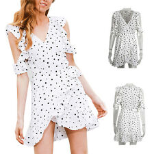 Chic chiffon Print Dress Vintage Irregular Women Summer Cold shoulder polkadot