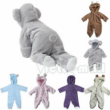 0-12M Newborn Baby Infant Boys Girls Romper Hooded Jumpsuit Bodysuit Outfits New