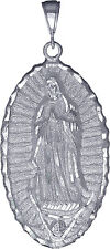 Sterling Silver Virgin Mary Pendant Necklace Large 3 inches Diamond Cut Finish