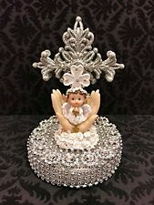 Silver Cross with Christening Angel Girl or Boy Baby Cake Topper Centerpiece