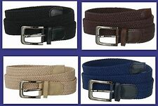 "Men's Genuine Leather Elastic Braided Stretch Golf Belt 1-3/8"" Wide 7001N"