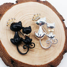Men&Women Cat Brooches Crystal Crown Rhinestone Animal Pin Party Jewelry Gift