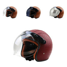 Motorcycle Harley M99G DOT Retro PU Leather Half Helmets +Bubble Visor Beyond