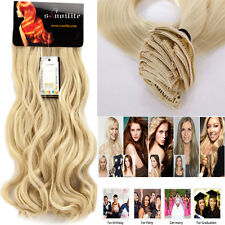 Double Straight Real Natural hair Long Clip in Hair Extensions 7/8Pcs Full Head