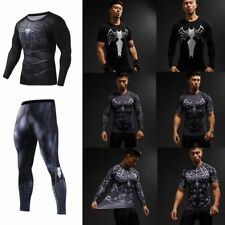 Superhero 3D Mens Black Spiderman Compression Tight Pants T-shirts Gym Sport Top