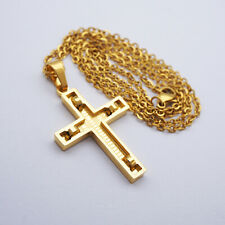 Stainless Steel Cross Crucifix Pendant Necklace Jewelry Fashion Gold Silver
