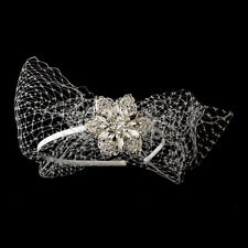 Headpiece #7614 Beautiful Side Accented Bridal Headband with Bird Cage Veil