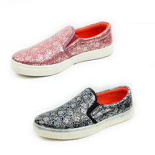 WOMENS LADIES FLAT CHUNKY SOLE SLIP ON FLOWER GLITTER PUMPS TRAINERS SHOES 3-8