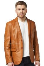 New Men's stylish Milano 2 button Classic Blazer Tan 100 % Leather Jacket Coat