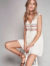 New FREE PEOPLE Embroidered Simply Lace Up Sleeveless Dress Tunic Size XS S M