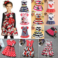Kids Baby Girls Cartoon Minnie Mouse Dress Summer Casual Vest Skirts Party Dress