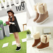 Womens wedge High Heel mid-calf Boots Fur Lined faux suede round platform Shoes