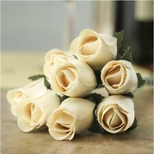 #27 WHITE -- 12/24/36/48 pieces Wooden Roses Buds FREE SHIPPING US SELLER