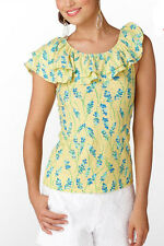 Lilly Pulitzer Wynne Ruffle Top Printed Slub New