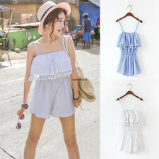 Women Sleeveless Strap Ruffle Tassel Casual Tunic Loose Short Romper Jumpsuits