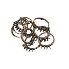 10Pcs Adjustable Finger Ring Findings With 10 Loops for DIY Charms Plated Brass
