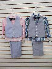 Boys $50 IZOD 4pc Blue or Cobalt Vest Suits Sizes 4 - 6