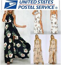 NWT Floral Halter Backless Full Length Maxi Beach Dress Navy Blue White XS S M