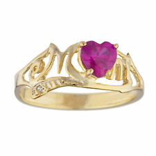 14Kt Yellow Gold Plated Created Ruby & Diamond Heart Mom Ring