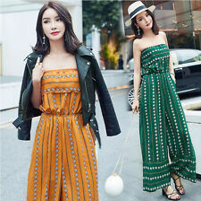 Boho Women Strapless Wide Leg Loose Casual Beach Long Pants Rompers Jumpsuits