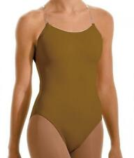 NEW Dance Leotard Camisole Clear Straps in MOCHA Tan Nude Underleo Performance