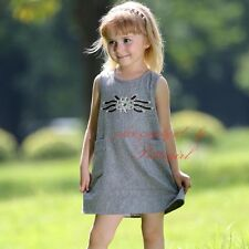 Girls Kids Cotton Sleeveless Party Dress Rhinestone Spring Autumn Dresses