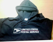 USPS POSTAL HOODIE HOODED BLACK SWEATSHIRT WITH 2 COLOR USPS LOGO ON CHEST S-5X