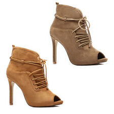 NEW WOMENS LADIES PEEP TOE HIGH STILETTO HEEL ANKLE BOOTS SHOES SANDALS SIZE 2-7