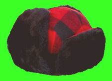 Winter Hunting Hat Trooper / Trapper Dog Ear Flap Classic Red/Black Wool Plaid