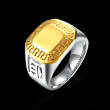 316L Stainless Steel Simple Gold Silver Smooth Ring Fashion Jewelry Sz9-11