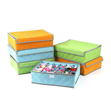 24 Cells Foldable Non-Woven Bamboo Storage Box Case For Sock Ties Bra Underwear