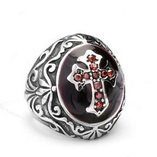Vintage MEN Silver Ruby Red Cubic Zircon Cross 316L Stainless Steel Crystal Ring