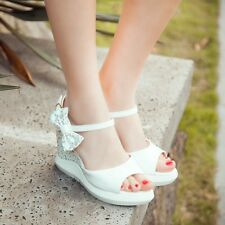 Sweet Womens Platform Wedge High Heels Shoes Bowtie Sandals Ankle Strap Open Toe