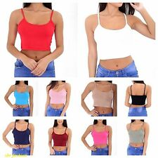 NEW WOMENS CASUAL SUMMER PLAIN THIN STRAP GIRLS SEXY CAMI VEST LADIES CROP TOP