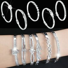 Fashion Jewelry Silver Crystal Rhinestone Love Bracelet Bangle Cuff Charm Women'