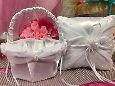Wedding White Satin Pillow and Basket Reception Party Accessories Choose Item