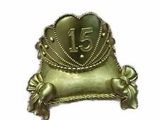 Gold/Silver Mis Quince Anos Tiara with Pillow Cake Topper Centerpiece Decoration