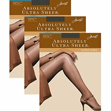 Hanes Women`s Set of 3 Absolutely Ultra Sheer Control Top Toe Pantyhose