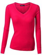 Doublju Womens Long Sleeve V Neck Thermal Tee Shirts - Choose SZ/Color