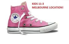 NEW CONVERSE YOUTH KIDS ALL STAR HI CHUCK TAYLORS PINK SCHOOL SHOE RRP $65