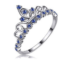 925 STERLING SILVER ENGAGEMENT WEDDING CROWN PRINCESS FASHION SAPPHIRE RING GIFT