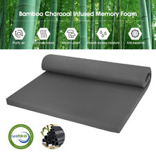 "2"" Twin/Full/Queen Bamboo Charcoal Infused Topper Memory Foam Mattress Bed Pad"