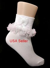 Girls WHITE Socks with PINK RUFFLE Trim & Pearled Bow Size NB-7-10 Youth USA