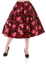 Hearts Roses Full Circle Swing Skirt 50s Retro Rockabilly PinUp Dance Black Red