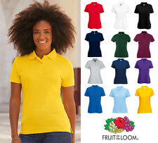Fruit of the Loom Ladies Womens Lady-Fit Polo Shirt Smart Sport Top 65/35 SS212