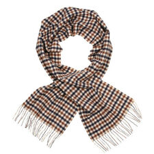 New Mens Aquascutum  Scarf Lambswool Club Check - Brown