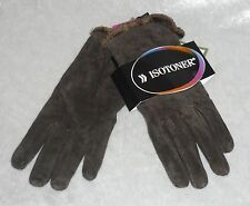 Isotoner Womens Gloves Genuine Leather Suede Solid Winter Lined size L NEW