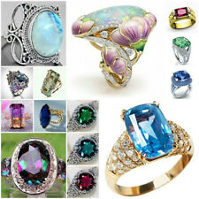 Huge Stone Ring 925 Silver Sapphire Cocktail Wedding Woman Men Size 6-10