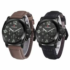 Mens Quartz Wrist Watch Black Sport Date Dial Casual Chronograph Stainless Steel