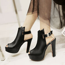 Stylish Women Party High heels sandals Platform Ankle buckle Sexy Peep toe shoes